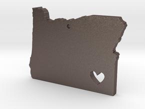 I love Oregon Pendant in Polished Bronzed Silver Steel