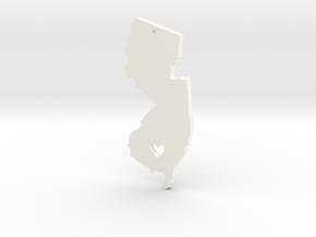 I Love New Jersey Pendant in White Processed Versatile Plastic