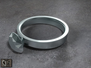 Ring - Diamond in Polished Bronzed Silver Steel