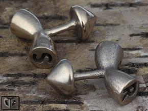 Cufflinks - Initials 1 in Polished Bronzed Silver Steel