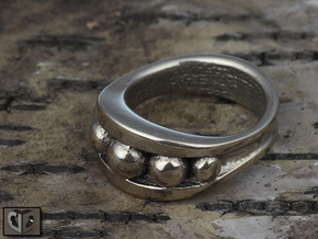 Ring - Warped Bearing in Polished Bronzed Silver Steel