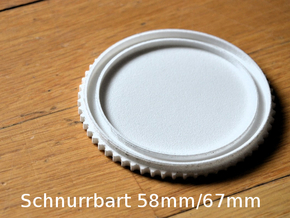 Schnurrbart Mustache Lens Cap 58mm/67mm in White Strong & Flexible