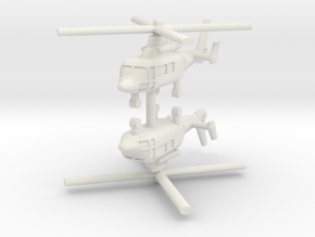 1/285 Eurocopter AS365 Dauphin (x2) in White Natural Versatile Plastic