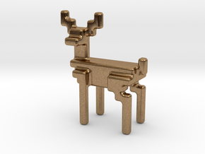 8bit reindeer with rounded corners in Natural Brass