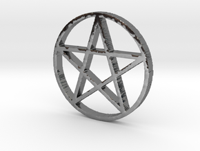 Pentagram (Pentacle) in Fine Detail Polished Silver