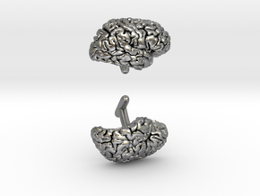Brain Cufflinks (Two Hemispheres) in Natural Silver