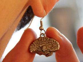 Custom (Your Brain!) Earrings (Two Hemispheres) in Polished Bronzed Silver Steel
