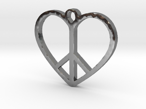 Peace Sign Heart Love Pendant in Polished Silver