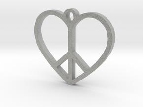 Peace Sign Heart Love Pendant in Metallic Plastic