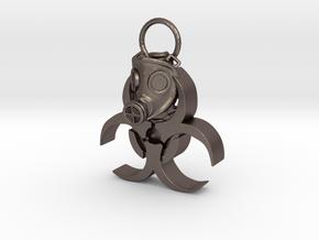 Gasmask in Polished Bronzed Silver Steel