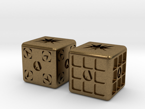 Test Printing Space Dice in Natural Bronze