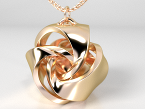 Rose Ball Earring / Pendant With Bail 15mm in 14K Yellow Gold