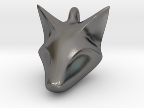 Stylish Fox Head Pendant in Polished Nickel Steel