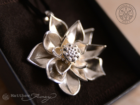 Sacred Lotus pendant in Polished Silver