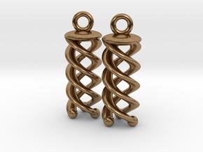 Triple Helix Earrings in Natural Brass