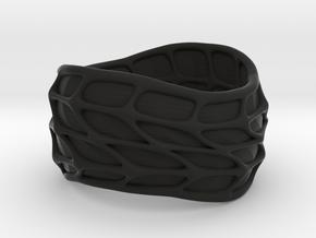 Panel Twist Ring (sz 7) in Black Natural Versatile Plastic