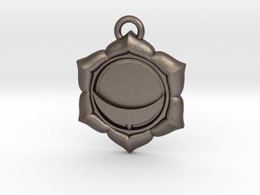 Manipura (Solar Plexus Chakra) Pendant in Polished Bronzed Silver Steel