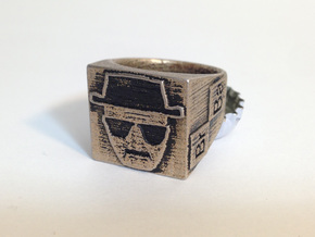 Heisenberg Ring with opener size 13 in Polished Bronzed Silver Steel