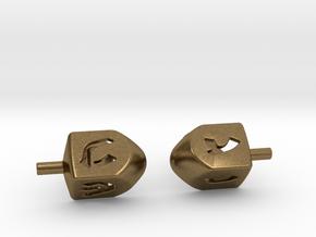 Dreidel Cufflinks in Natural Bronze