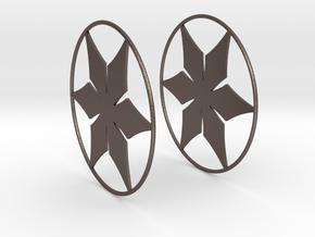 Flowerish 12 Big Hoop Earrings 60mm in Polished Bronzed Silver Steel