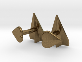 Paper Airplane Cufflinks with Heart Button in Natural Bronze