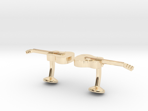 Guitar Cufflinks in 14K Yellow Gold