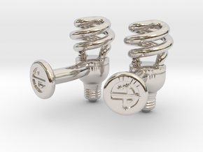 CFL Bulb Cufflinks in Platinum