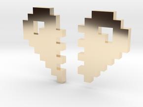 2 Halfs of an 8 Bit Heart (Pixel Heart) in 14K Yellow Gold