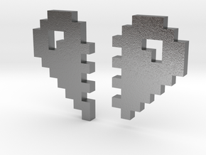 2 Halfs of an 8 Bit Heart (Pixel Heart) in Natural Silver