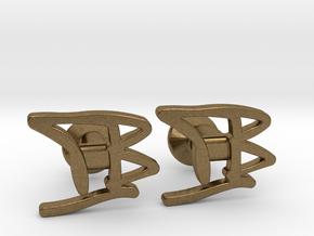 Custom Monogram Cufflinks - TB in Natural Bronze