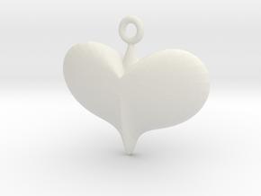 Lady Heart Pendant  in White Natural Versatile Plastic