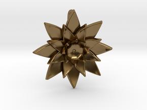 Lotus Flower Pendant in Polished Bronze
