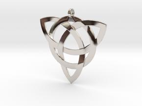 Large Celtic Knot Pendant (Inverted Triquetra) in Platinum