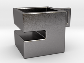 Square coffee cup with Oreo stand in Polished Nickel Steel