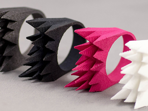 Spikes Ring Size 8 in Matte Black Steel
