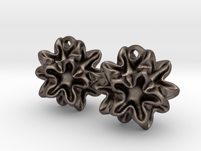 Imploded star earrings  in Polished Bronzed Silver Steel
