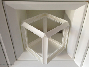 Cube Geometry perspectivity sculpture in White Natural Versatile Plastic
