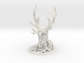 Deer Head With Stand  in White Strong & Flexible