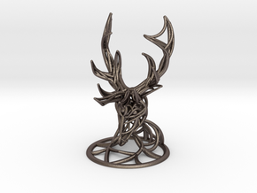 Deer Head With Stand  in Polished Bronzed Silver Steel