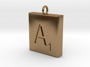 Scrabble Charm or Pendant-A in Natural Brass