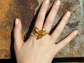 Ribbon Double Ring 7/8 in Polished Gold Steel
