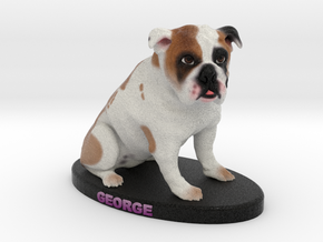 Custom Dog Figurine - George in Full Color Sandstone