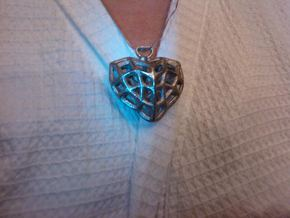 Heart Charm Necklace in Polished Nickel Steel