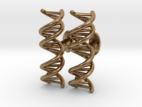 DNA Cufflink in Natural Brass