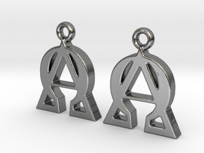 Alpha Omega Earrings in Polished Silver