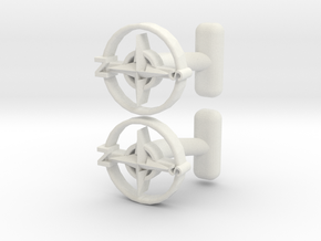Compass Cufflinks, Part of the NEW Nautical Collec in White Natural Versatile Plastic