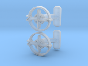 Compass Cufflinks, Part of the NEW Nautical Collec in Smooth Fine Detail Plastic