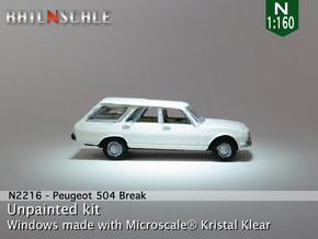 Peugeot 504 Break (N 1:160) in Smooth Fine Detail Plastic