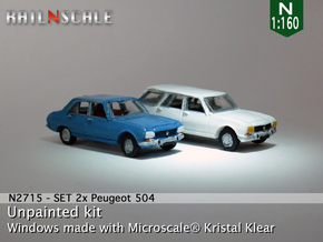 SET 2x Peugeot 504 (N 1:160) in Smooth Fine Detail Plastic