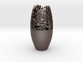 Decorative Tabletop Flower Vase  in Polished Bronzed Silver Steel